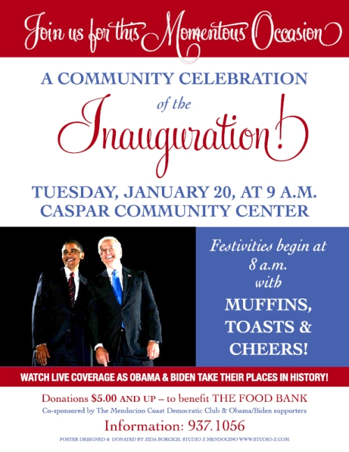 Our poster for the local celebration of the Inauguration.