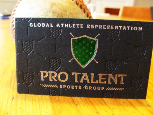ProTalent Thick Black Business cards with three foils and green edge painting