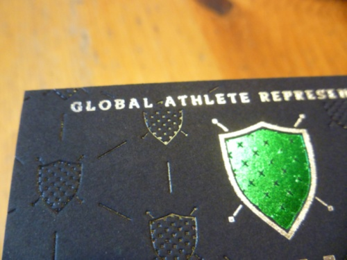 Gloss foil, silver foil and grass-green foil